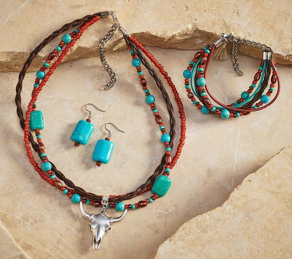 Western Spirit Skull Necklace Earrings & Bracelet