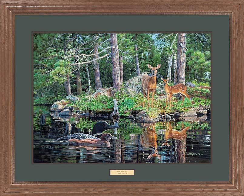 <I>Neighbors&mdash;whitetail Deer And Loons</i> Gna Premium Framed Print<Br/>25H X 31W Art