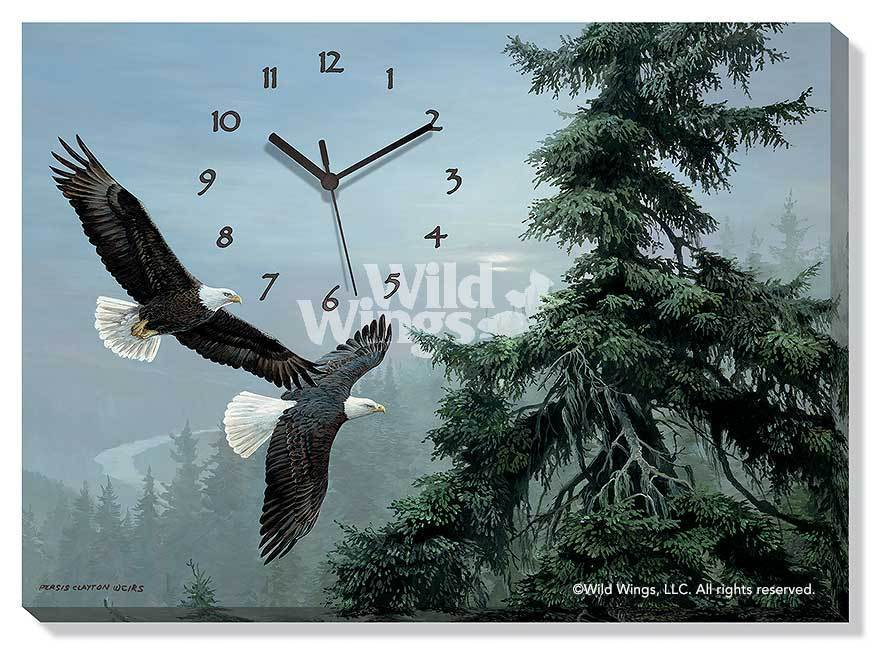 Above The Mist—bald Eagle Canvas Clock