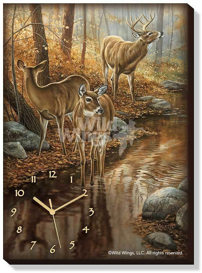 Backwater Passage—whitetail Deer Canvas Clock