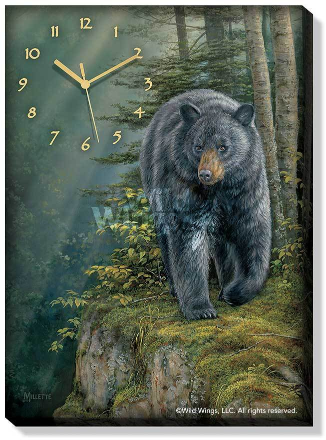 <I>Rocky Outcrop&mdash;black Bear</i> Canvas Clock