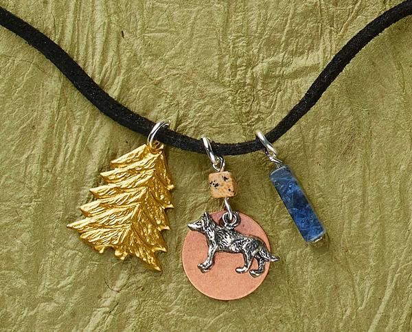 Copper Moon & Wolf Necklace