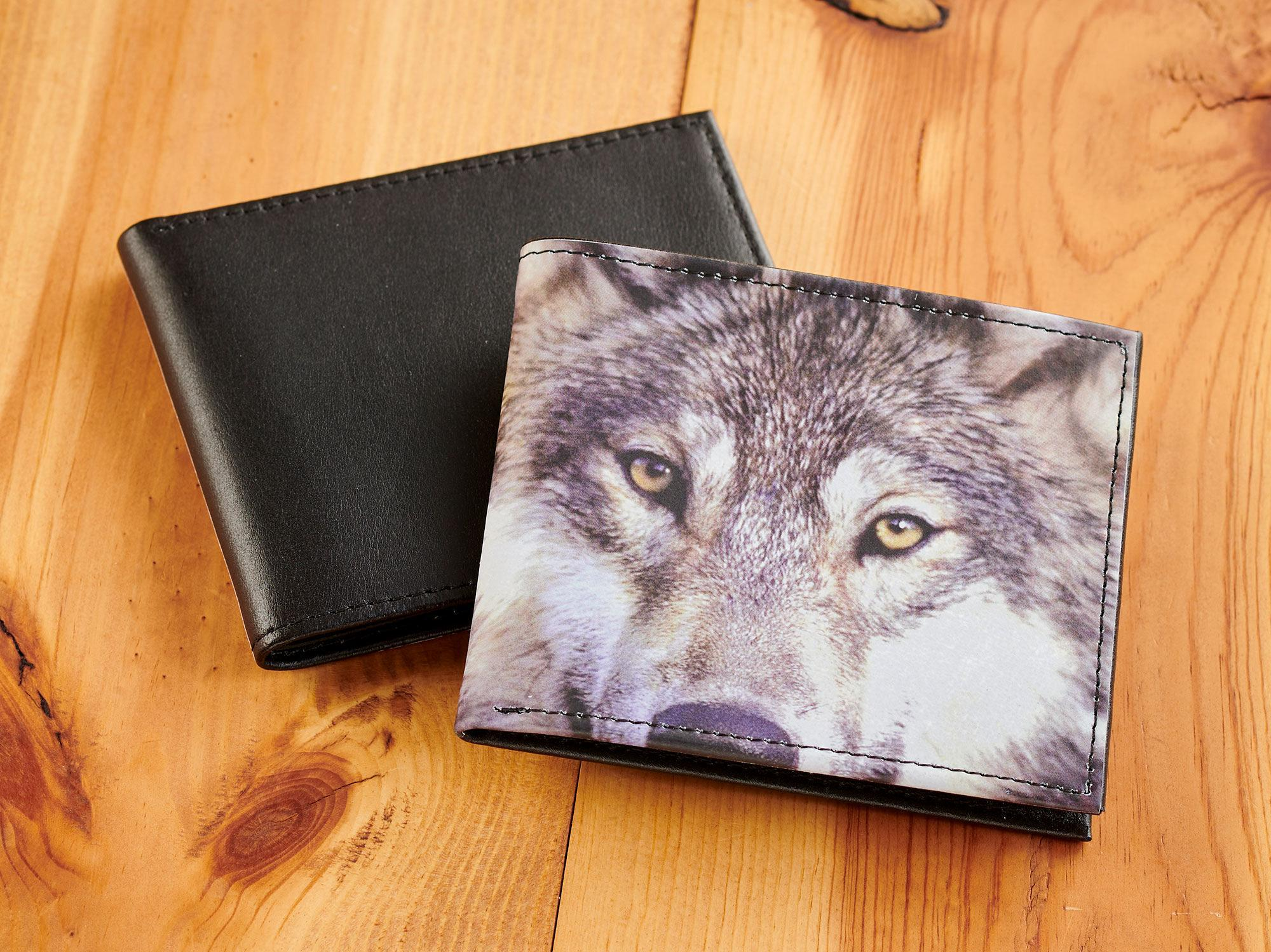 Wolf Full Moon Leather Purse LP with Zipped Compartments RFID Protected Ladies Gift 501