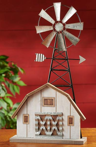 Windmill And Barn Sculpture