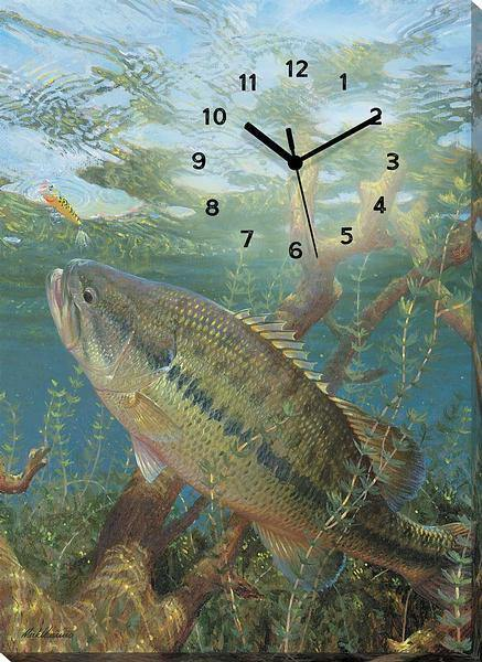 Surface Commotion—largemouth Bass Canvas Clock