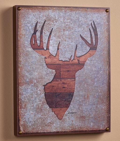 Whitetail Deer Bust Silhouette 12 X 16 Box Art Sign