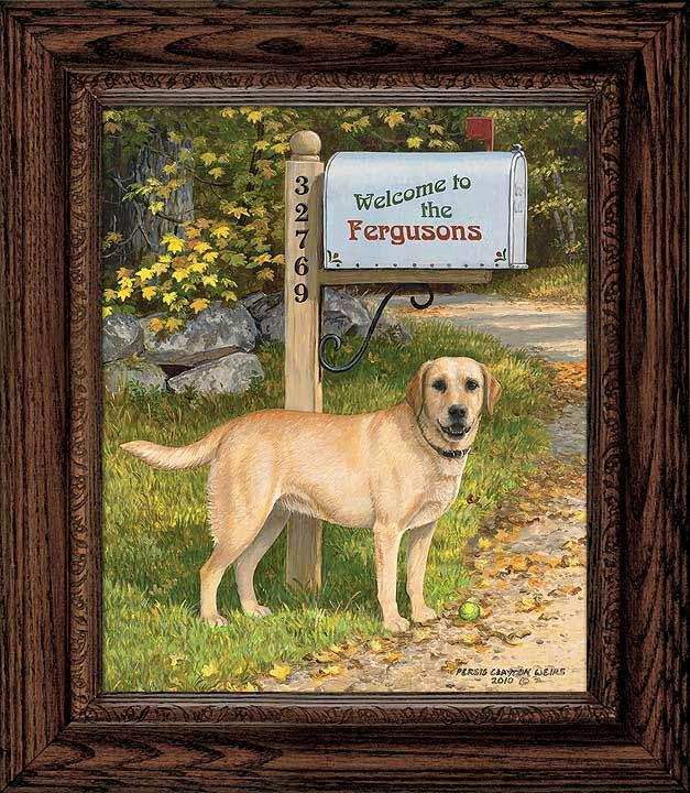 Lifes A Ball—yellow Lab Personalized Framed Canvas