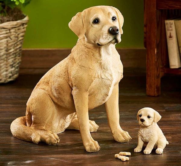 <I>Lifelike Dog & Puppy Yellow Lab </i> Sculpture