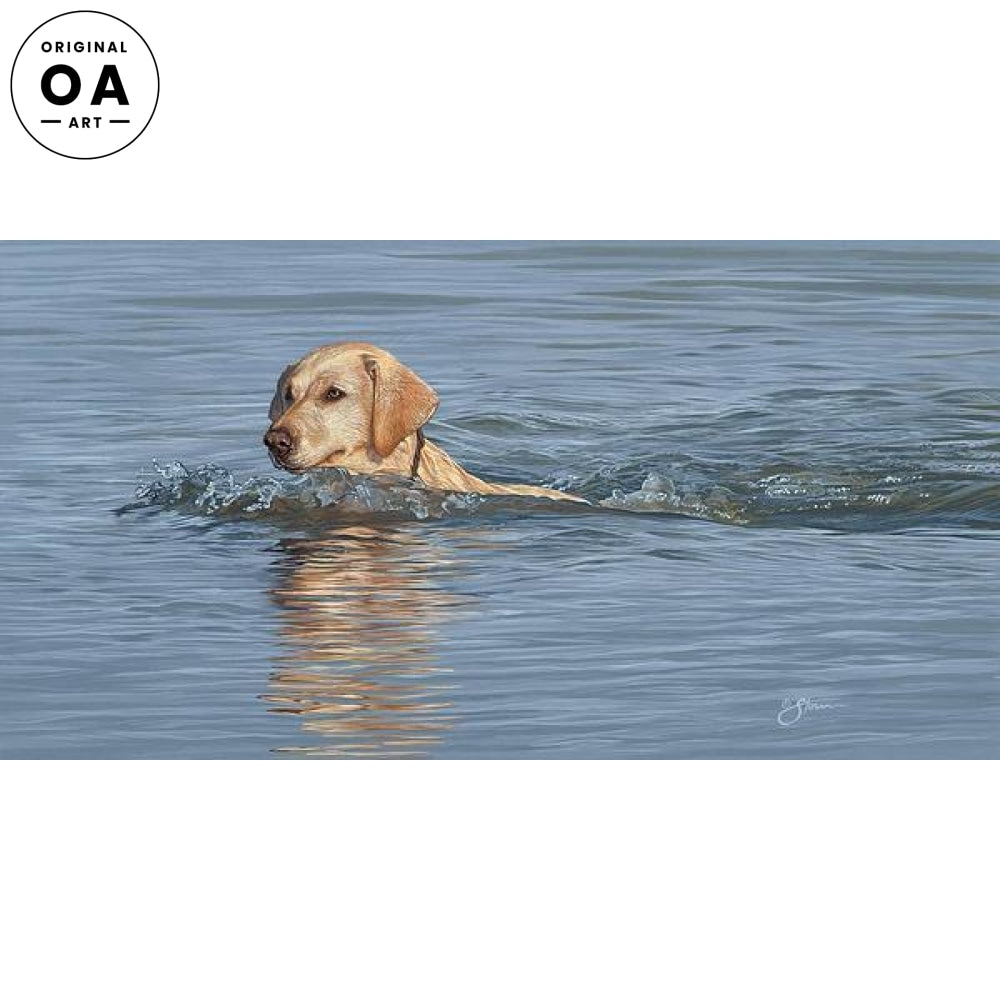Yellow Lab Swimming Original Artwork