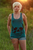 What Up Skull on Women's Tri-Blend Racerback Tank