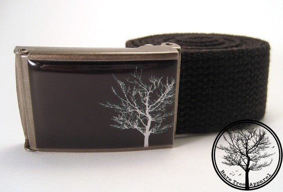 Solitary White Bare Tree on black background on Antiqued Steel Buckle!