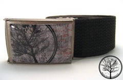 "1.25"" Bare Tree Apparel Circle Tree with Gray Background on Antiqued Steel Buckle with Black Web Belt!"