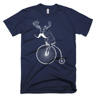 Moosestache riding a penny farthing!