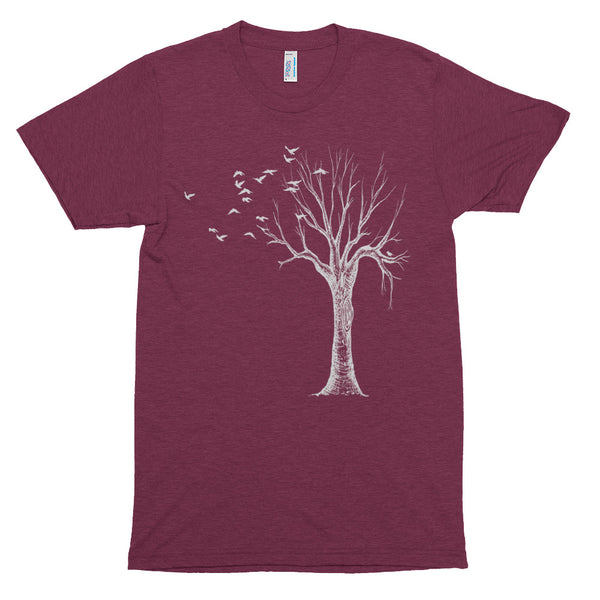 The original Bare Tree with birds on a super soft triblend unisex size tshirt