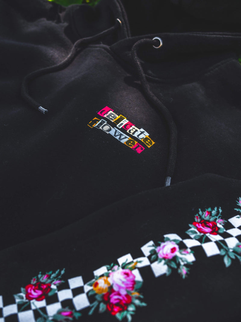 Delicate Flower Hoodie (Black) - dripcreation