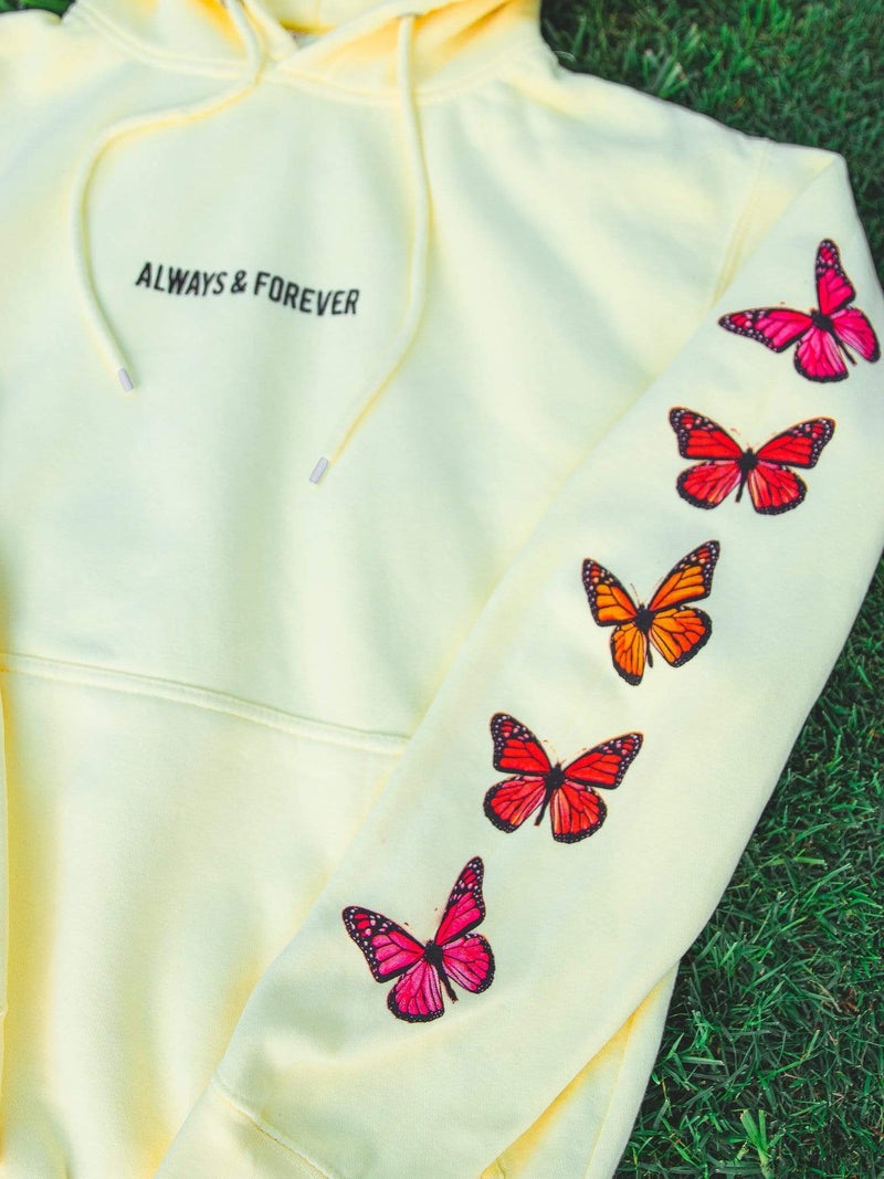 Monarch Pastel Butterfly Hoodie (Yellow) - dripcreation