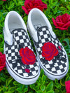 Full Rose Checker Slip On - dripcreation
