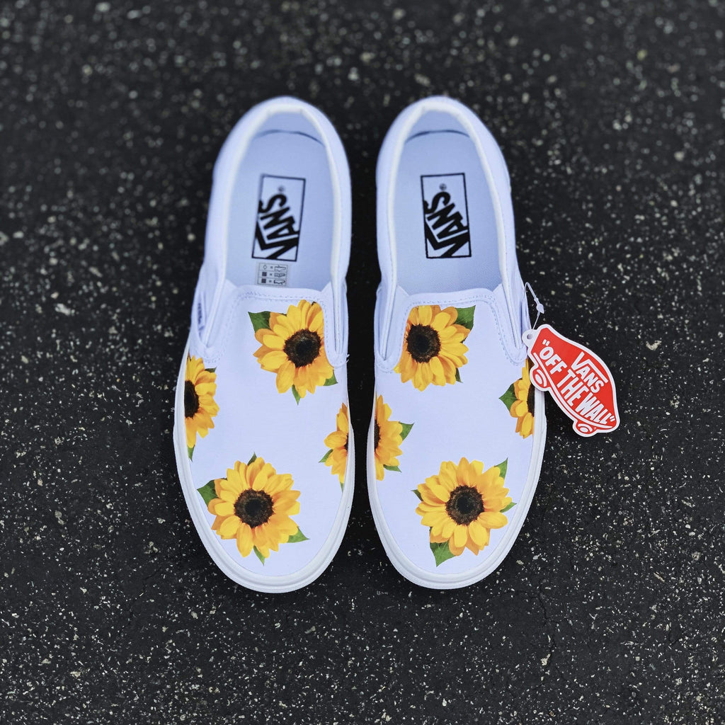 Sunflower White Slip On - dripcreation