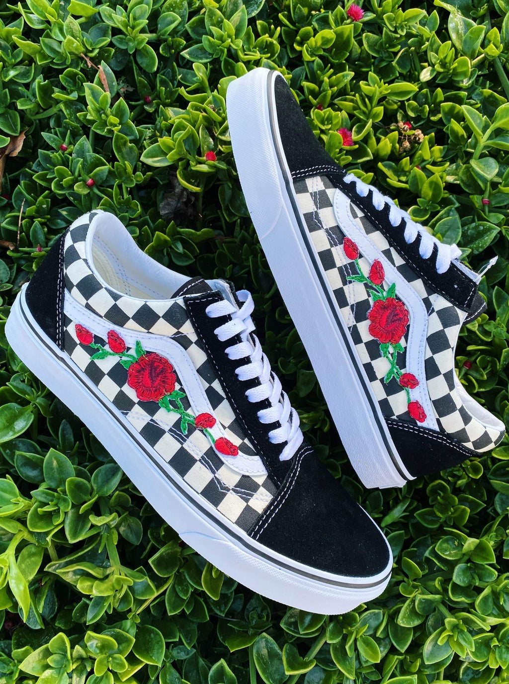 Red Rose Black/Checker Old Skool - dripcreation