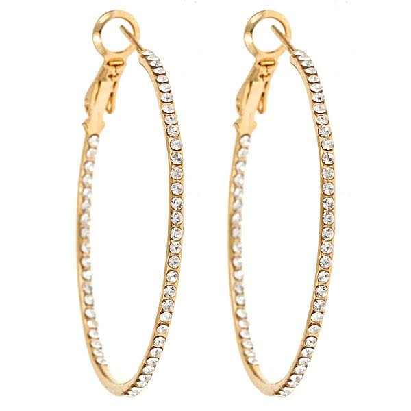 Large Cubic Zirconia Gold hoops