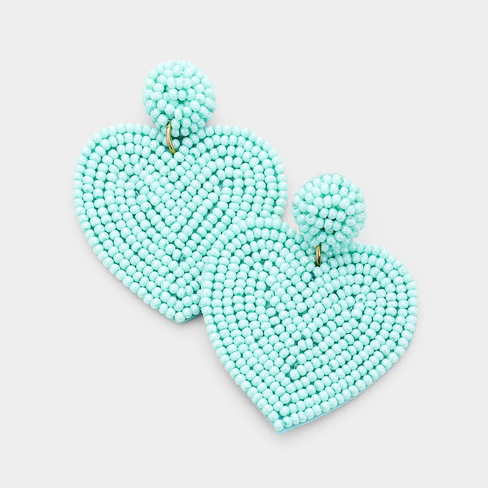 Beaded Boho Heart earrings