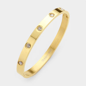 Crystal Stainless Bangle-Gold plate