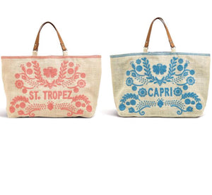 Embroidered Resort Jute tote