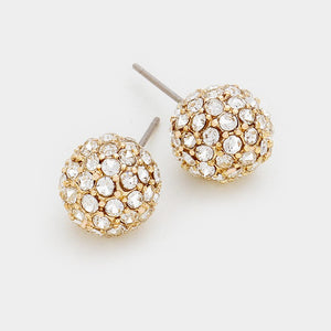 Rhinestone Gold Ball studs