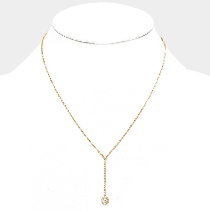 Classic Y Cubic Zirconia Gold necklace