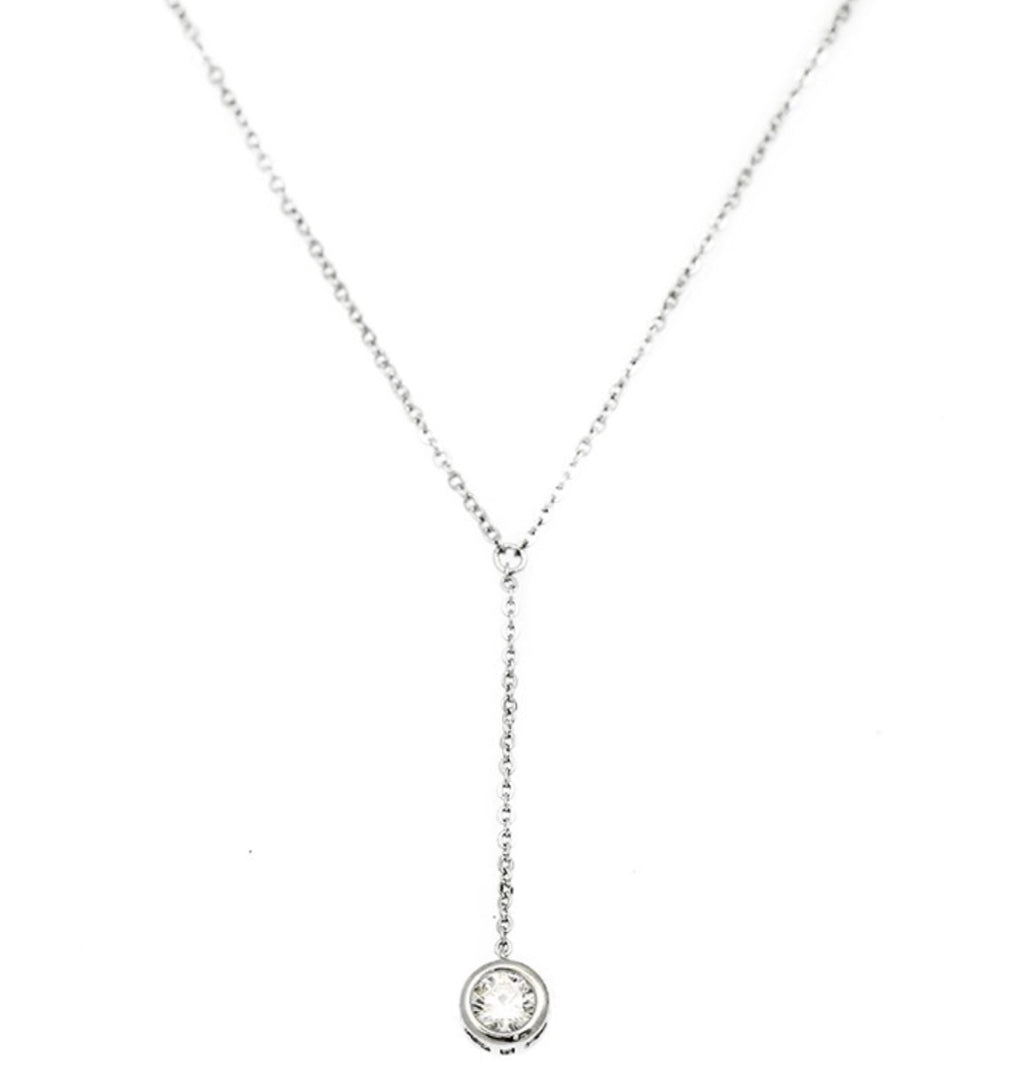 Classic Y Cubic Zirconia Rhodium necklace