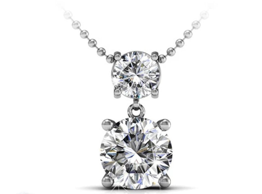 White 18k Gold Plate Swarovski Zirconia necklace