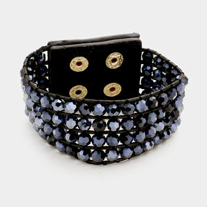 Shimmer Beaded Snap Cuff Navy bracelet