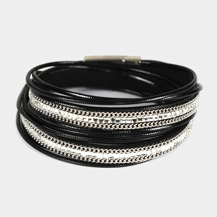 Crystal Double Wrap Cord Black bracelet