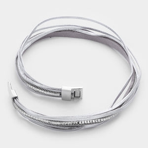 Crystal Double Wrap Cord Silver bracelet