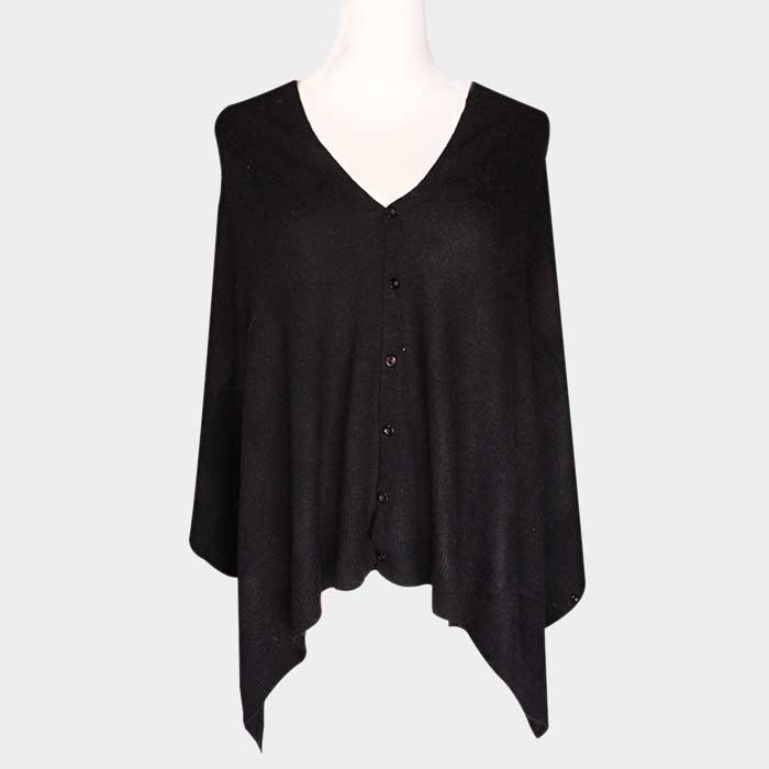 Convertible Button Black poncho