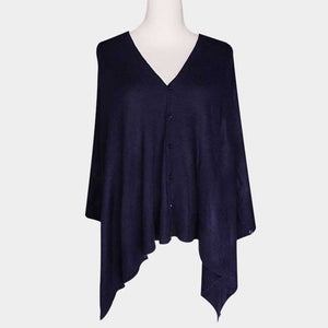 Convertible Button Navy poncho