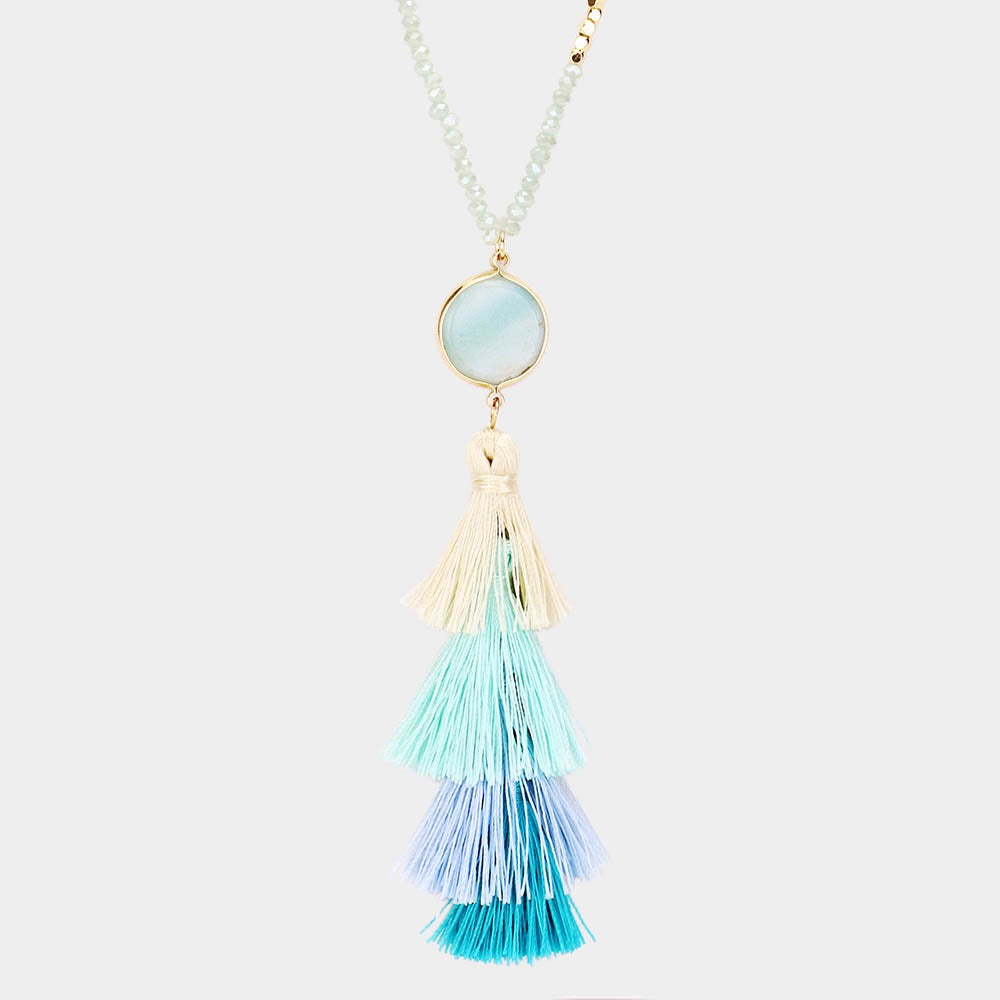 Semi Precious Aqua Stone Tassel necklace