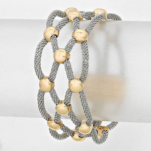 Lattice Mesh Magnetic Two Tone Bracelet