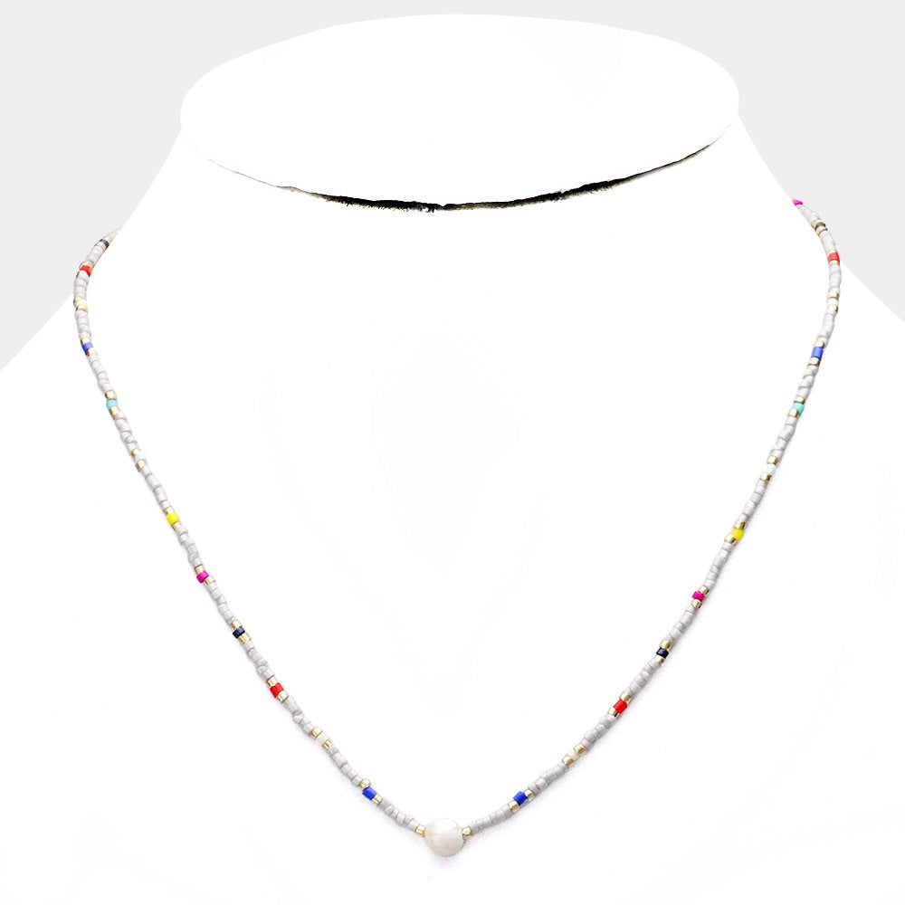 Mini pearl multi colored beaded choker