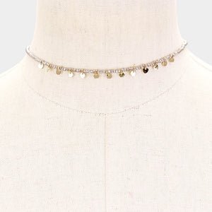 Mini Beaded Disc Grey Choker
