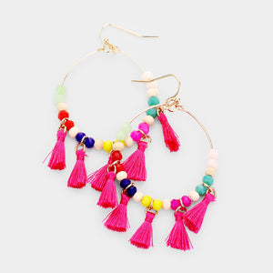 Beaded Tassel Hoop earrings