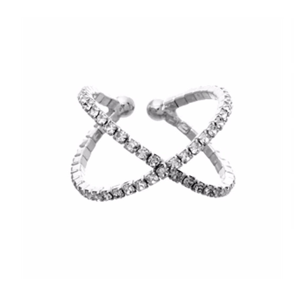 Rhinestone X Cross Stretch ring