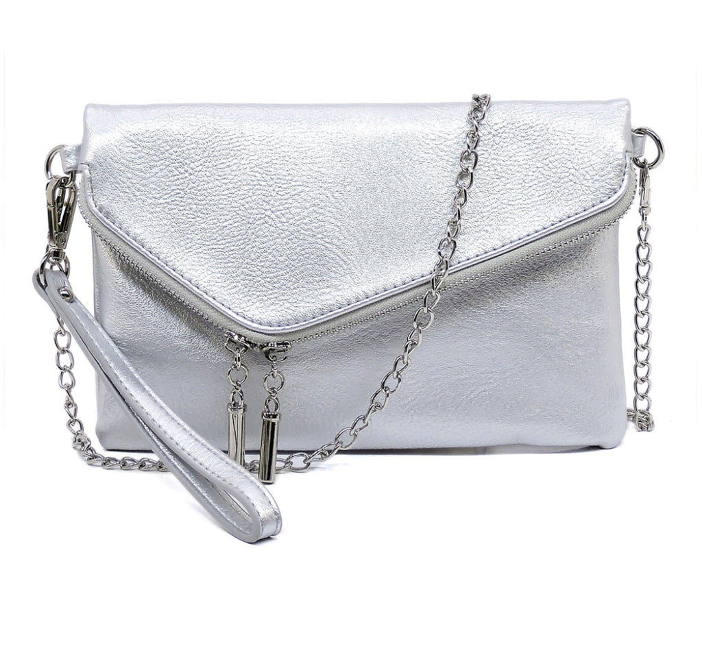 Asymmetrical Vegan Leather Convertible clutch