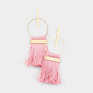Circle Drop Tassel earrings