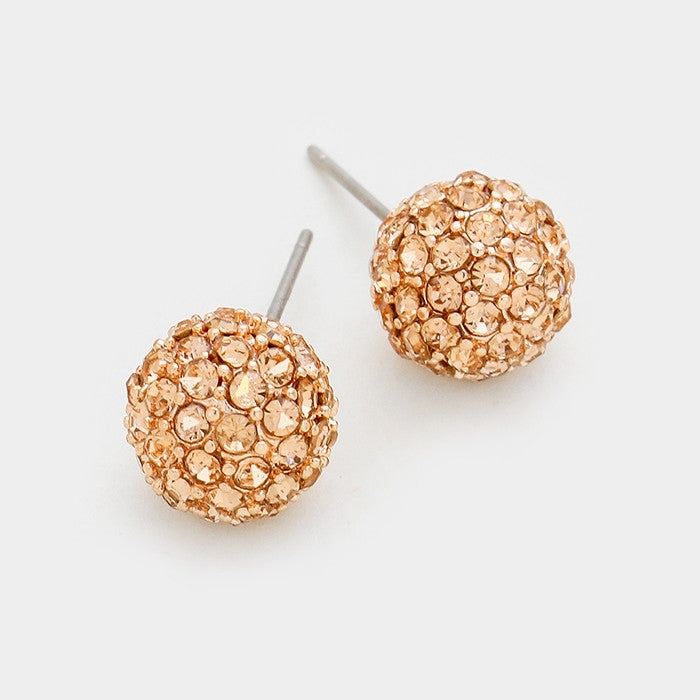 Rhinestone Rose Gold Ball studs