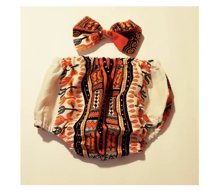 Orange and Brown Dashiki Diaper Cover/ Hairclip