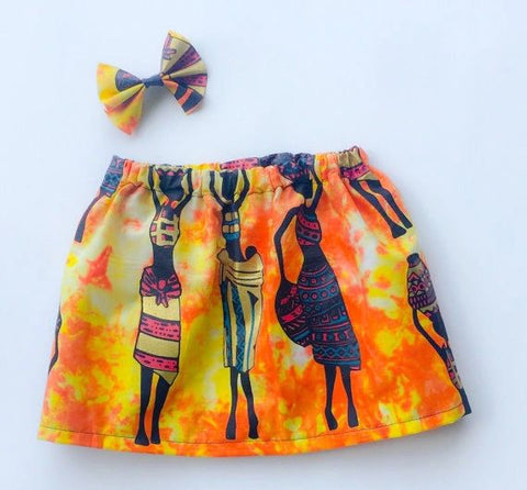 Lady with Baby African Print Skirt/Hairbow