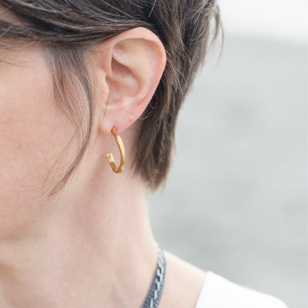 Bronze Small Hoop Earrings-Chikahisa Studio
