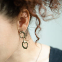 Bronze Triple Chain Earring-Chikahisa Studio