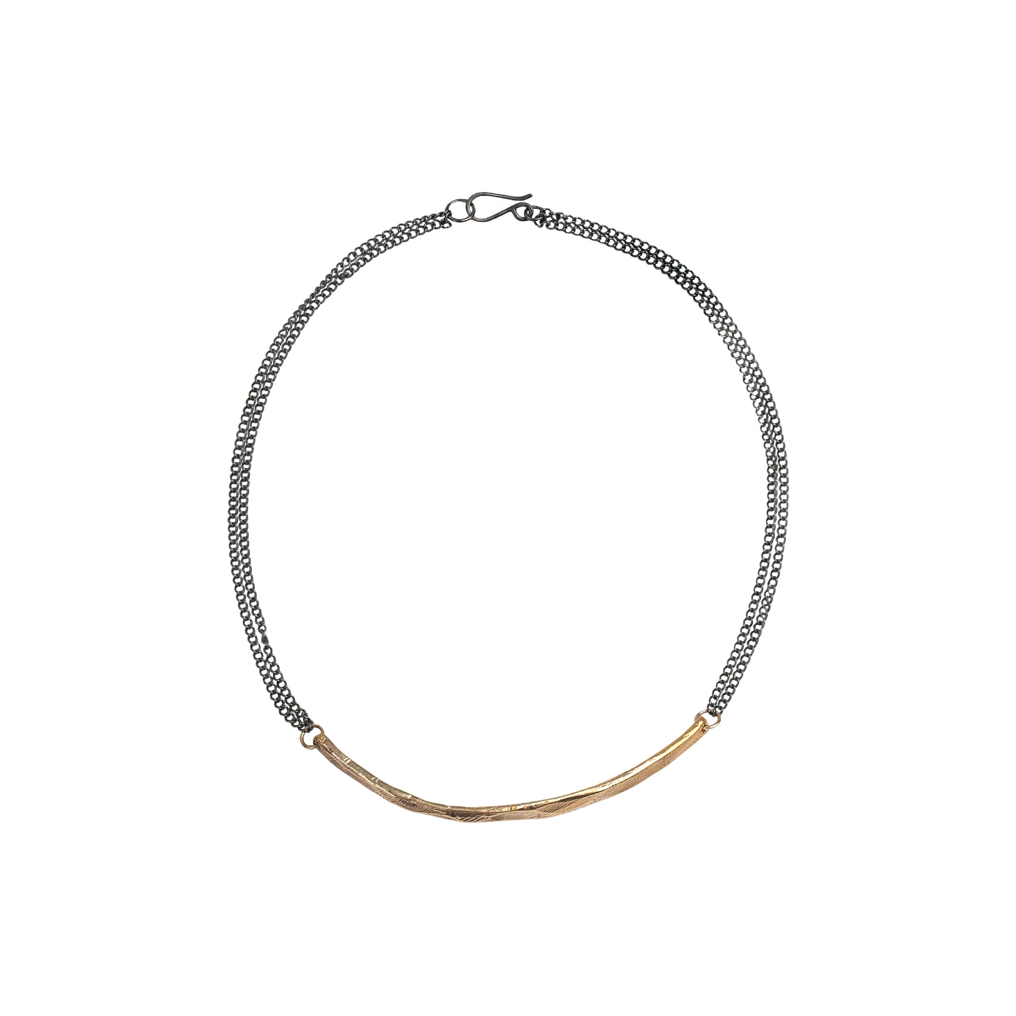 Bronze Bar Necklace-Chikahisa Studio